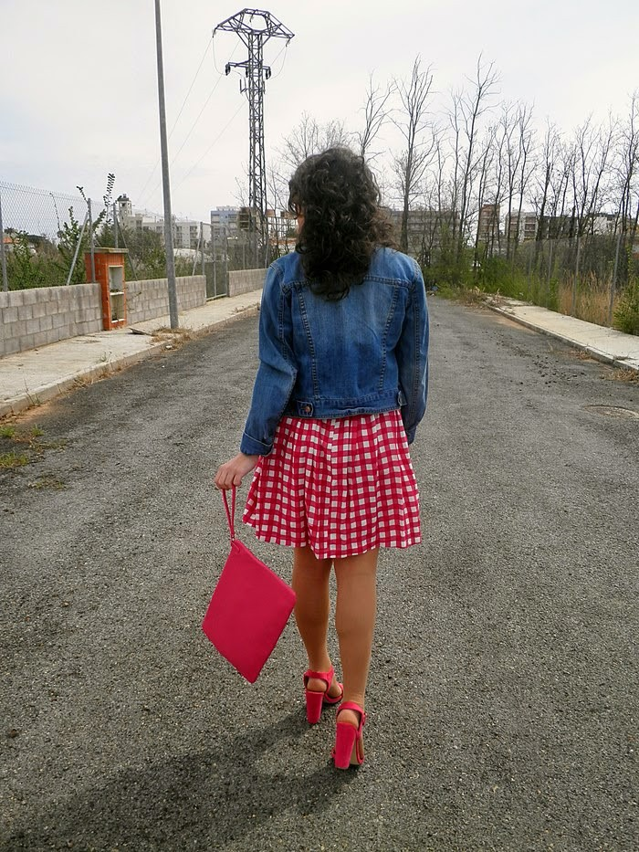 Primark, vestido, cuadros, rosa, sandalias, clutch, pink