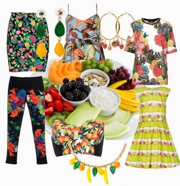 estampado frutal, frutas, piñas, cítricos, tendencia, verano, 2014