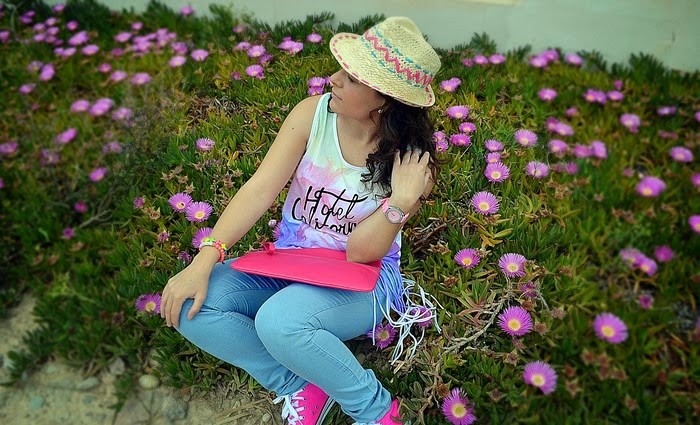 look, primark, flecos, boho, chic, casual, jeans, rosa, pink,Castellón, fashionblogger, fringe