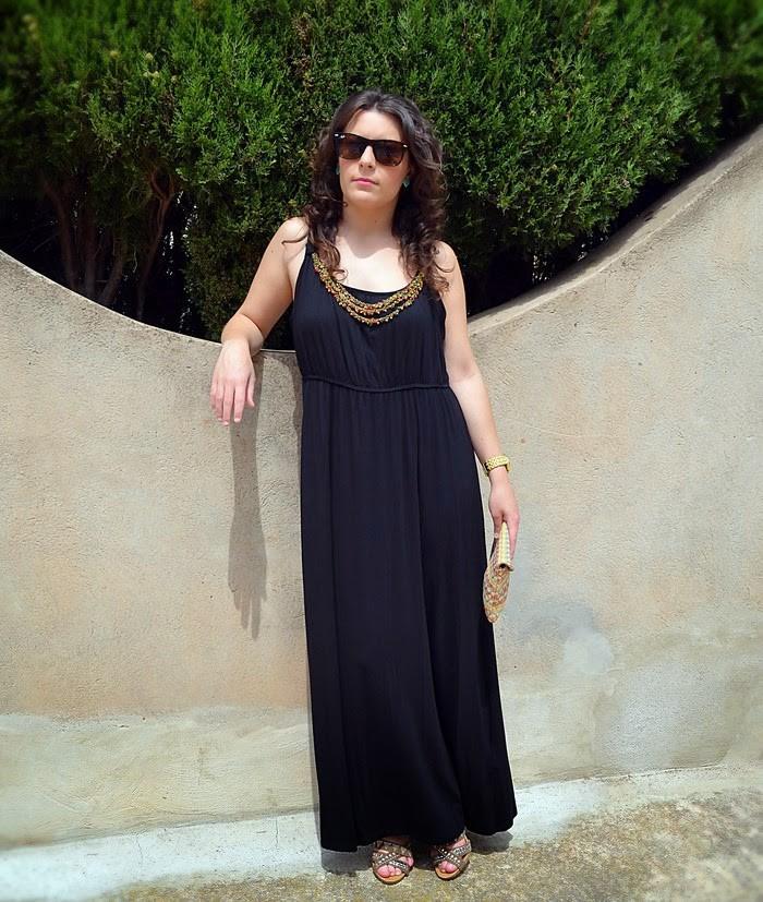 vestido largo, maxi vestido, negro, chaqueta vaquera, denim, C&A, Primark, verano, Castellón