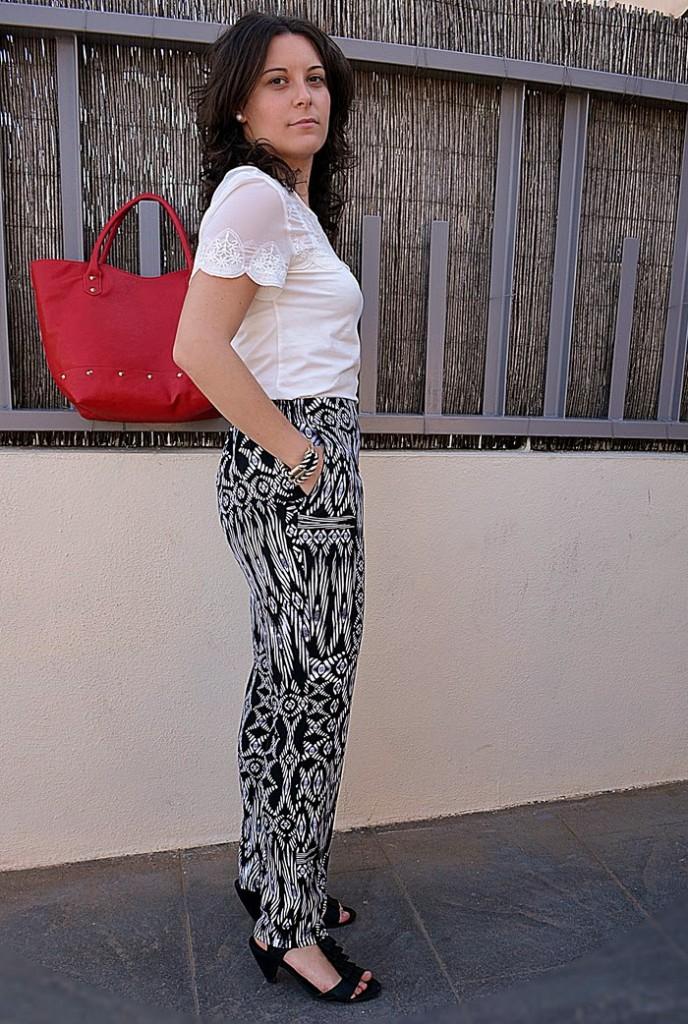 pantalon, pijama, étnico, bolso, rojo, fashion blogger, Festa, H&M, Blanco, Castellón, look, outfit, mi vestido azul