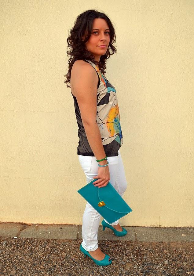 custo barcelona, turquesa, jeans blancos, moda, mi vestido azul, blogger, Castellón, fashion blogger, blog de moda, look