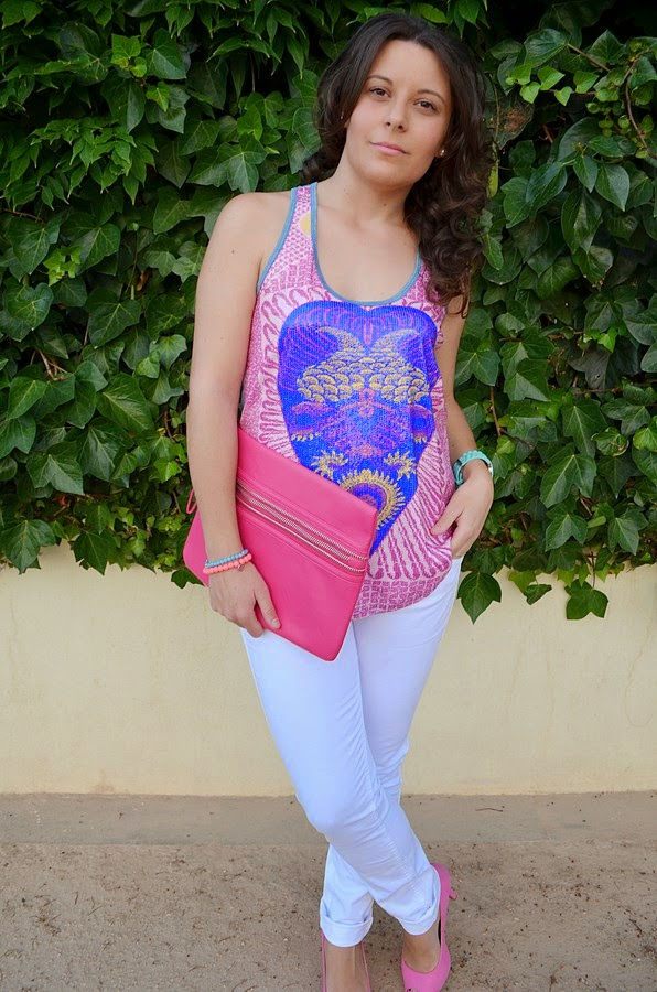 rosa, like, love, pink, custo barcelona, mi vestido azul, blog de moda, fashion blogger, castellón, look, outfit