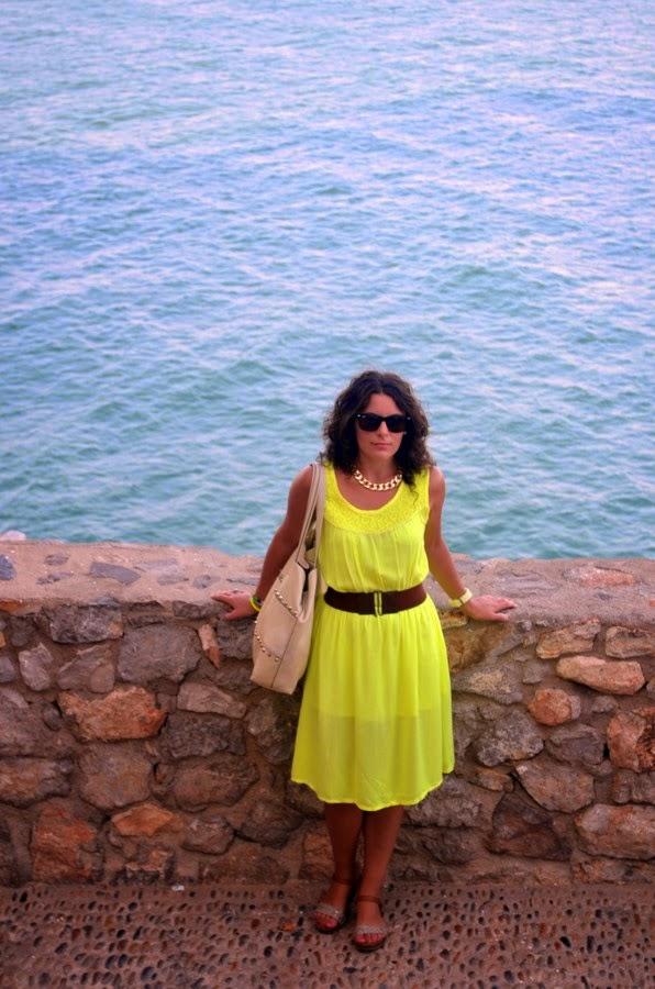 sunshine, vestido, amarillo, peñiscola, mi vestido azul, blogger, blog de moda, looks, ootd