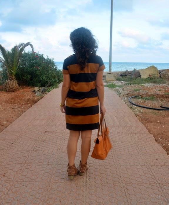 mi vestido azul, H&M, rayas, vestido camisero, blog de moda, castellón, fashion blogger, look, outfit