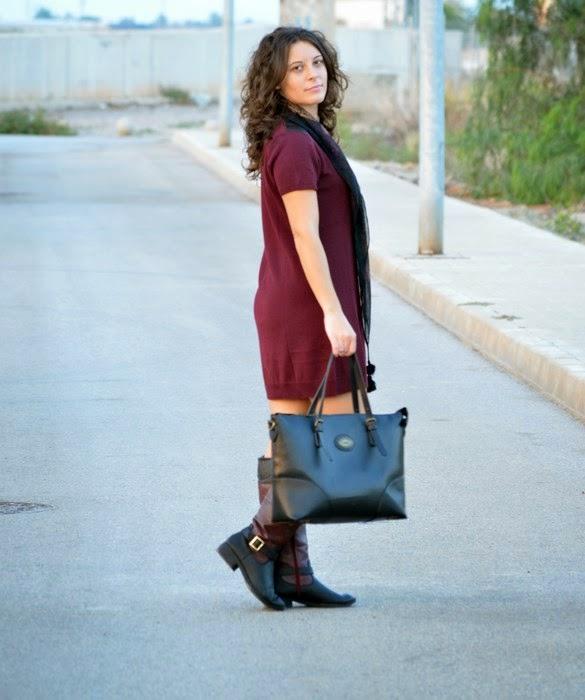 burgundy, borgoña, mi vestido azul, look. blogger, castellón