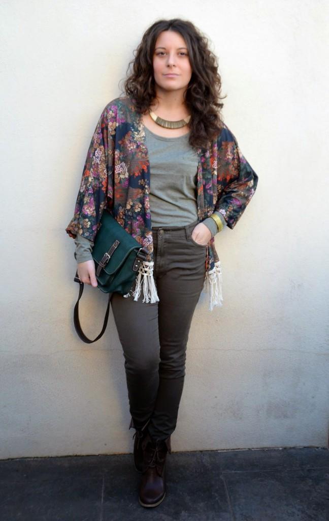 kimono de flores, mi vestido azul, blogger, castellón, look, fashion blog