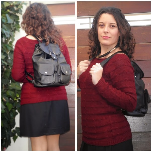 backpack, mochila, blogger, castellón, looks, spain, fashion blogger, mi vestido azul, negro, burgundy
