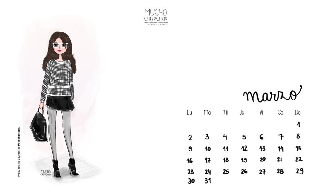 calendario salvapantalla marzo