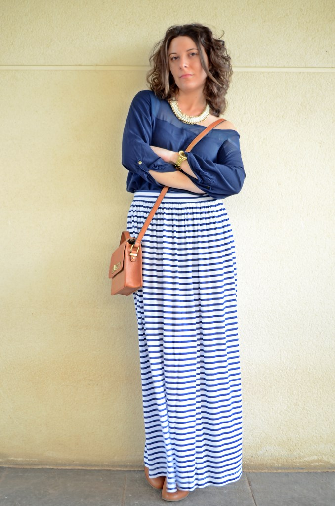 navy long skirt