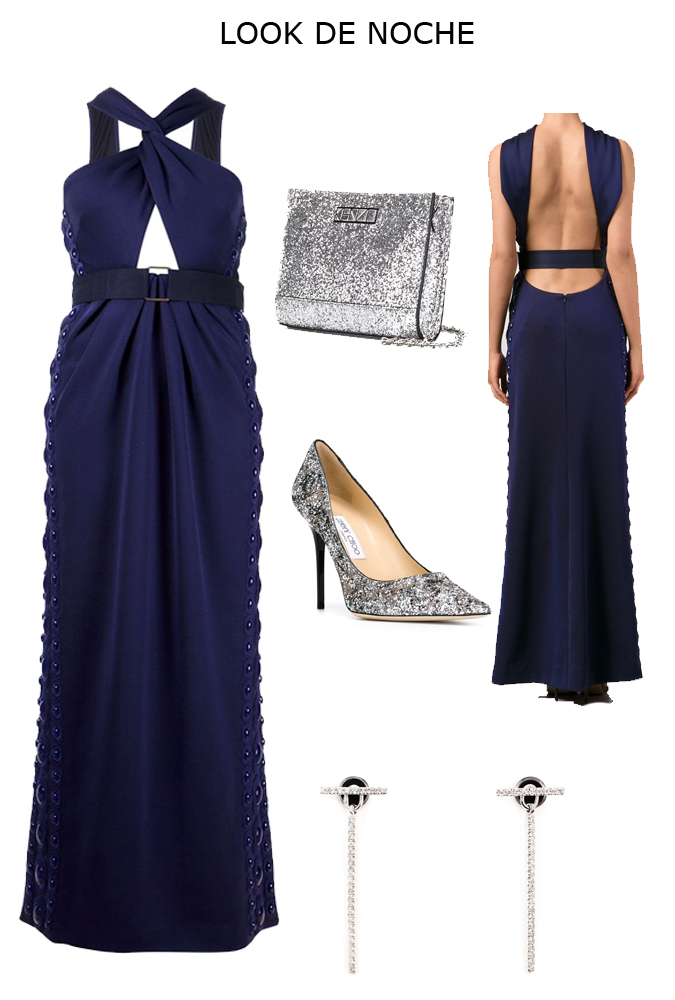 Que accesorios usar con un vestido azul marino
