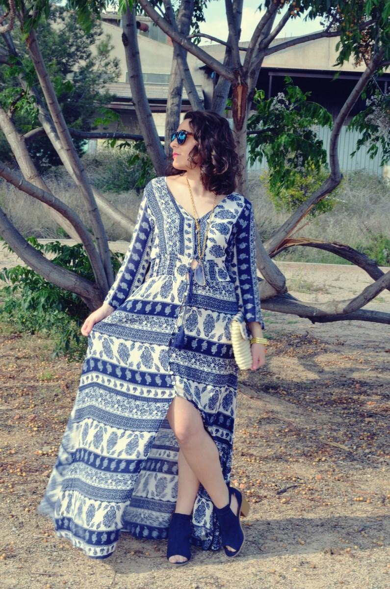 maxi vestido tribal outfit mi vestido azul fashion blogger (5)