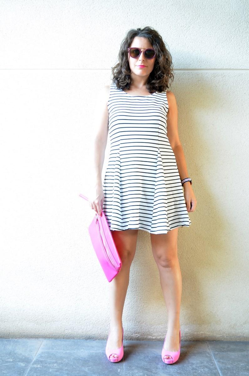 Vestido de rayas y complementos fuscia_look_mivestidoazul (5)