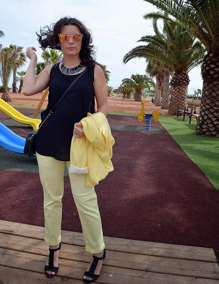 yellow, black, amarillo, negro, fashion blogger, blog de moda, look, outfit, castellón