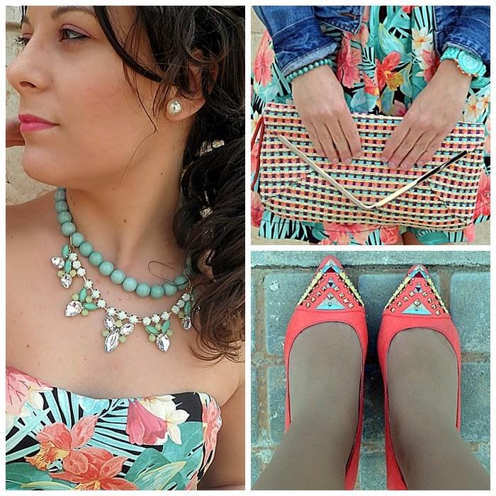 vestido tropical, stradivarius, primark, blanco, color, fashion blogger, palabra de honor, colorful, tropical dress, castellón, moda, blogger, blog de moda