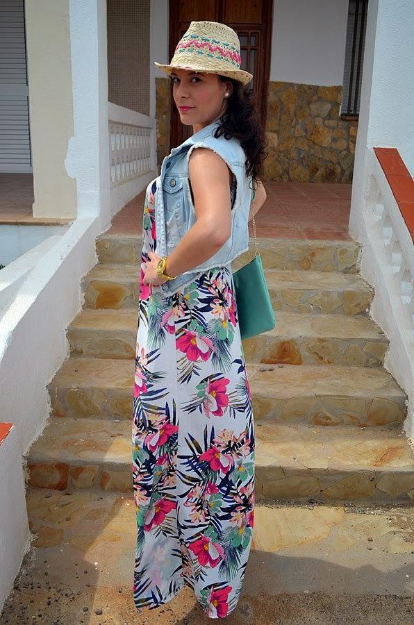 maxivestido flores, mi vestido azul, H&M, blogger, blog de moda, fashion blogger, castellón, looks
