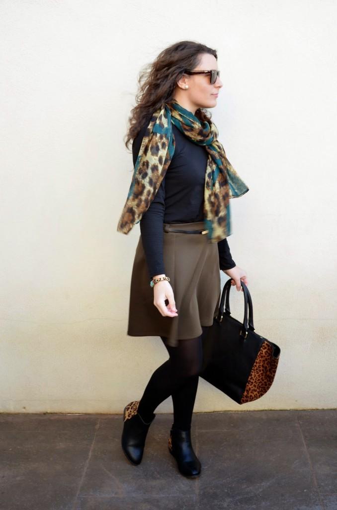 caqui, piensa en verde, blogger, castellón , moda, looks, style, mi vestido azul, fashion blogger, outfits , green, animal print
