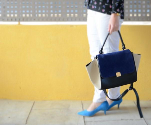 Blue kitten heels