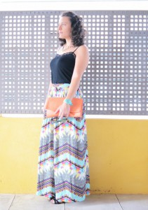 Mi vestido azul - Geometric long skirt (2)