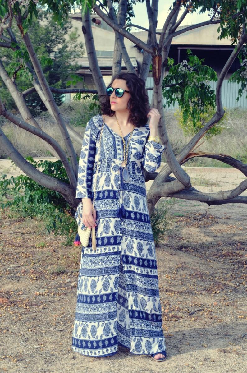 maxi vestido tribal outfit mi vestido azul fashion blogger (1)
