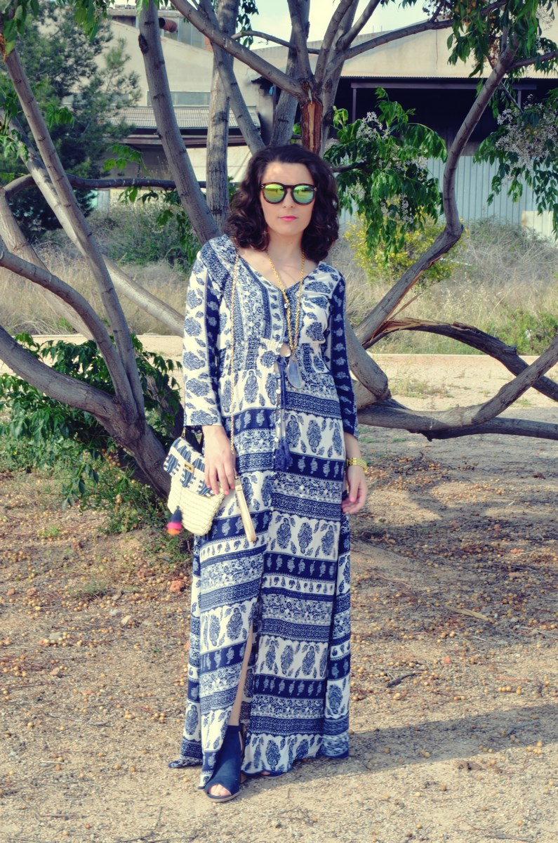 maxi vestido tribal outfit mi vestido azul fashion blogger (4)