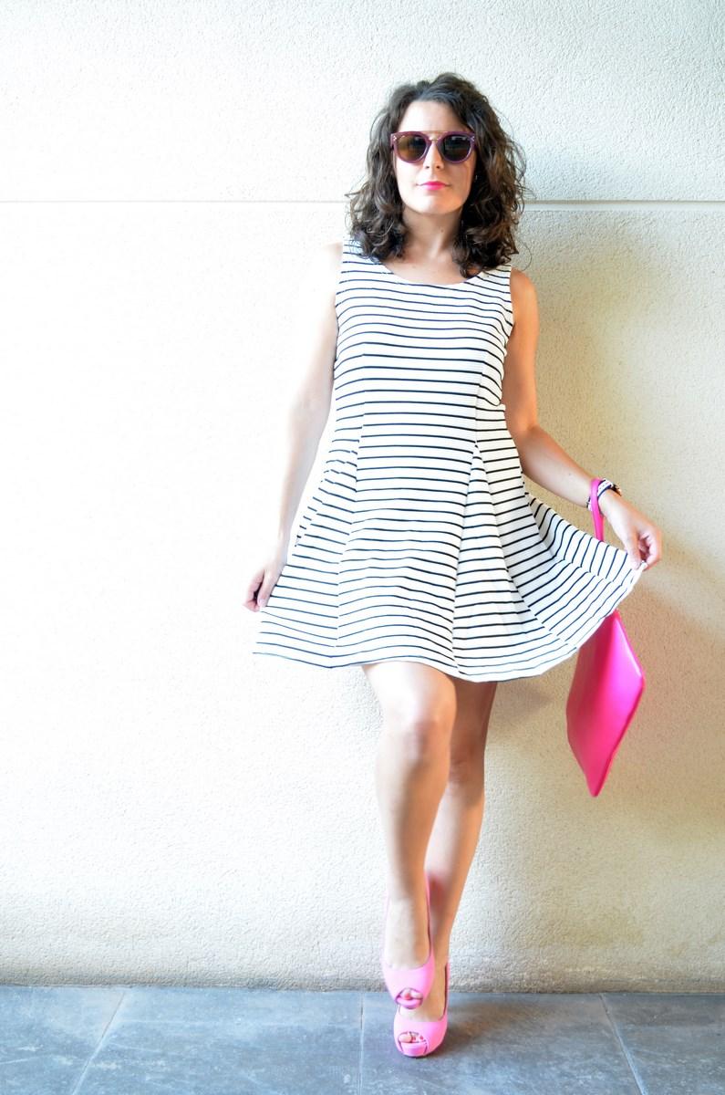 Vestido de rayas y complementos fuscia_look_mivestidoazul (10)