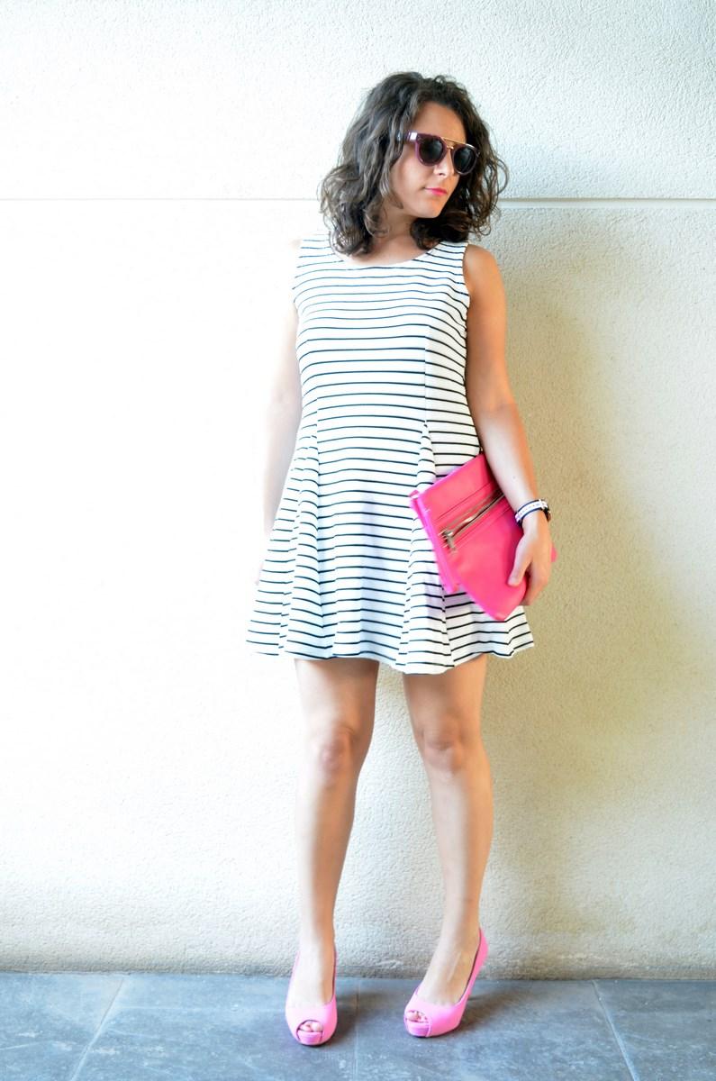 Vestido de rayas y complementos fuscia_look_mivestidoazul (2)