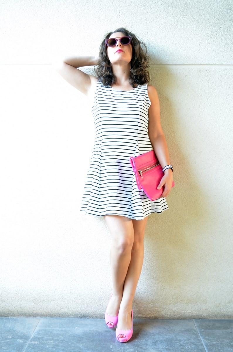 Vestido de rayas y complementos fuscia_look_mivestidoazul (3)