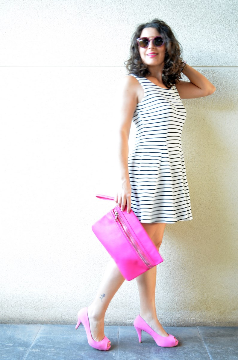 Vestido de rayas y complementos fuscia_look_mivestidoazul (4)
