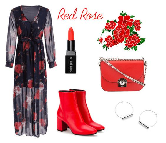 Vestido largo negro con flores rojas